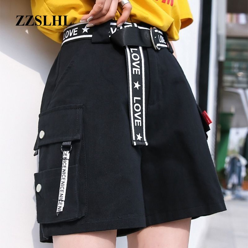 2020 Hip Hop Shorts Women BF Large Pocket Cargo Harajuku Loose Shorts Women Korean Ulzzang Trendy Street Summer Shorts