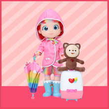 Rainbow Ruby Imitate Intelligent Girls Doll can Walk Sing and Talk Bear can Move with Umbrella and Suitcase Travel set(China)