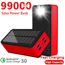 99000mAh Solar Phone Charger High Capacity with 4 USB Port Portable Outdoor Travel Emergency Poverbank for Xiaomi Samsung Iphone
