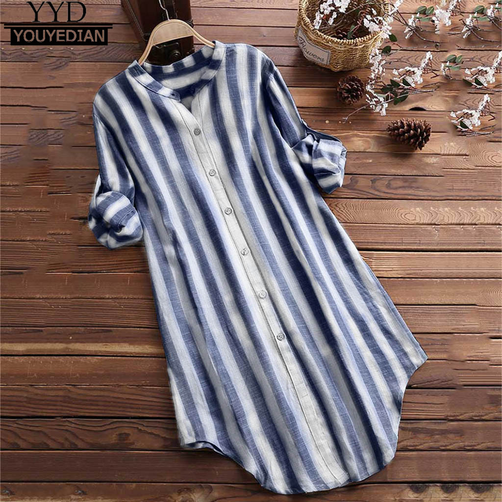 Tunic Blouse Pullover Button-Up Woman Shirts Womens Tops Long-Sleeve Striped Plus-Size
