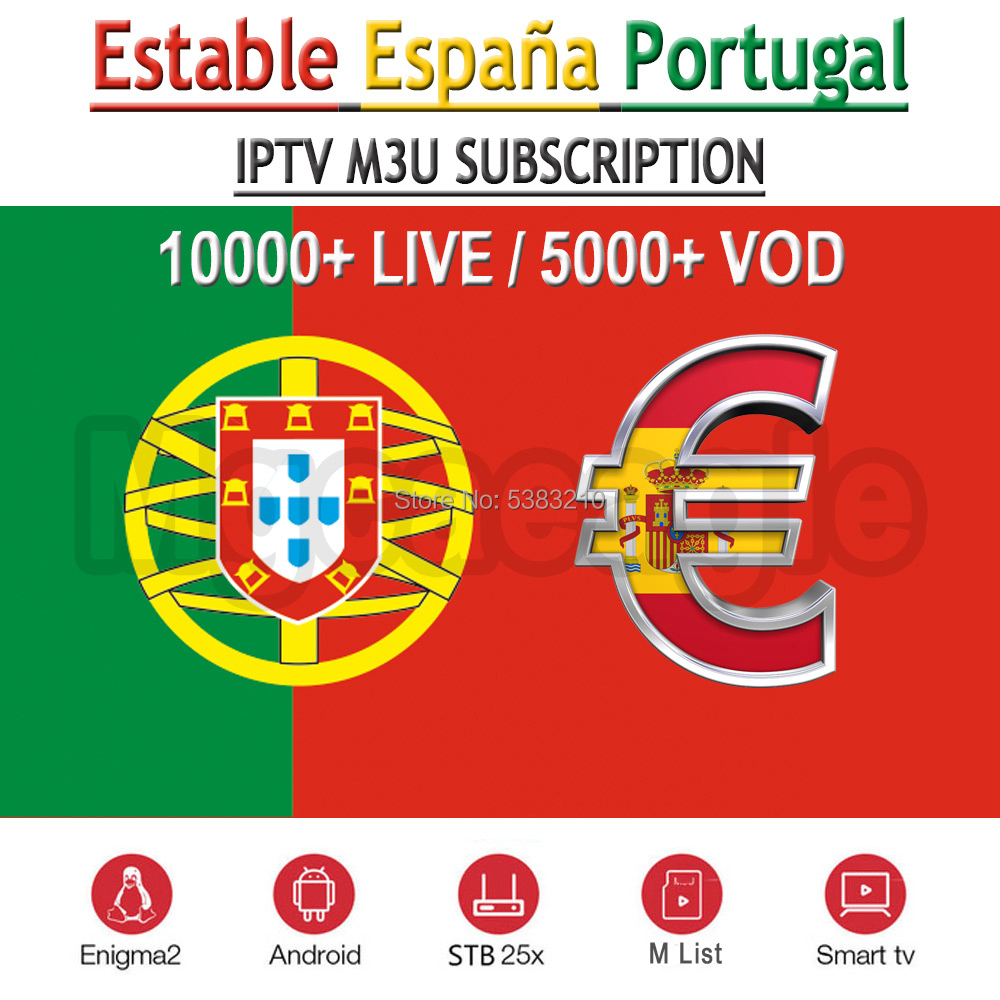 Best Spanish IPTV m3u subscription Spain Portugal channels IPTV M3U Subscription HD TV Account Code for Android Box IOS Enigma2