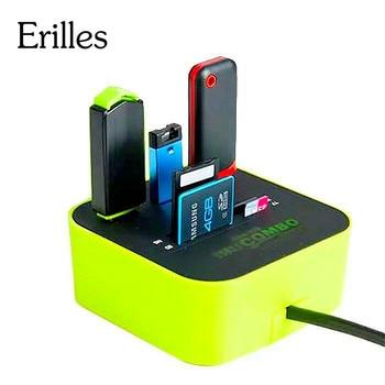 Erilles USB HUB Combo hepsi bir arada USB 2.0 mikro SD yüksek hızlı kart okuyucu 3 port adaptörü bağlantısı için Tablet PC bilgisayar dizüstü bilgisayar