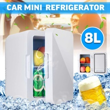 Audew 8L Mini Car Fridge Travel Refrigerator Portable 12V Powered Cool Heat Cooler And Warmer Home Office Freezer Car Skincare