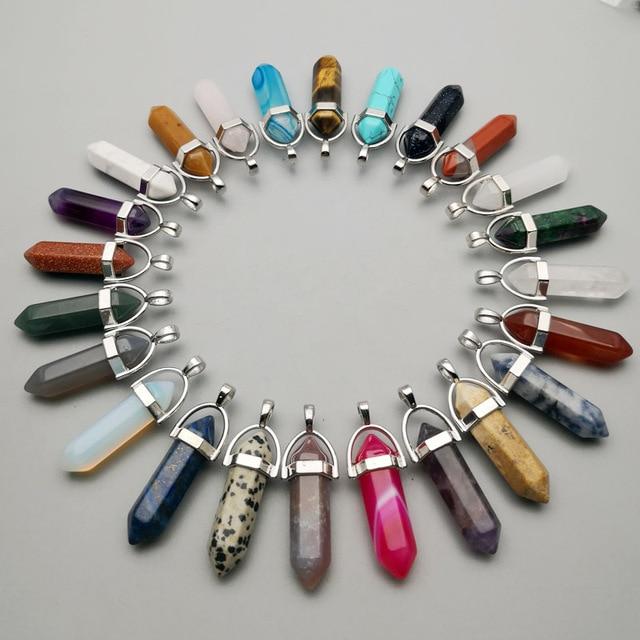 אופנה טבעי אבן קריסטל עמוד תליוני & שרשרת עבור תכשיטי ביצוע 50pcs מעורב קסם מטוטלת אביזרי משלוח חינם