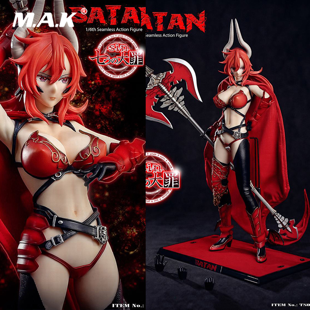 In Stock 1/6 Collectible Seven Mortal Sins -Satan Ts01 Seamless Full Set Action Figure Head Body Clothes Weapon Accessory Model