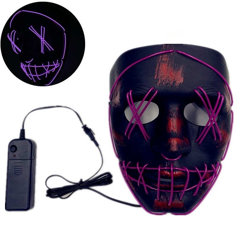 Halloween Mask Led Glowing Party Masks Cosplay Costume Masque Glow In Dark Glowing Masker 3 Model Light Full Face Mask Gifts Party Masks     - title=