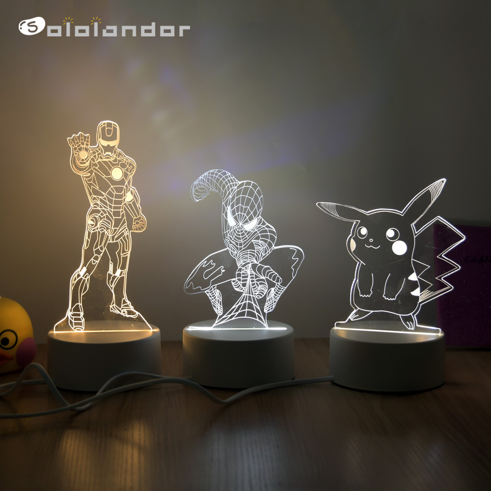 2020 Newest Cartoon 3D Visual Illusion Lamp Transparent Acrylic Night Light LED Lamp 3 Color Changing Touch Table Lamp Kids Lamp