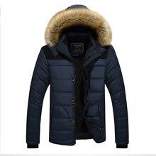 겨울 따뜻한 남자 캐주얼 다운 재킷 남자 두꺼운 솔리드 컬러 코튼 드레스 남성 후드 자켓 코트 플러스 사이즈 패션 아웃웨어