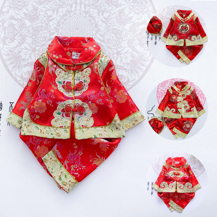 Floral Infant Traditional Chinese Clothes Baby Girl Boy Tangsuit Party Asian Halloween Costumes Clothing Suit Retro Costume