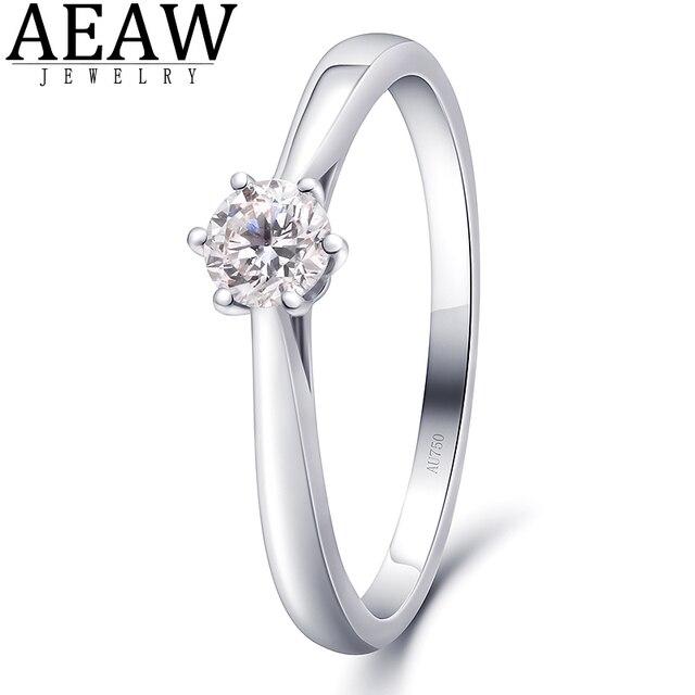 AEAW 0.3ct 4mm DF Round Cut EF VVS1 Moissanite 925 Silver Ring Diamond Test Passed Fashion Girlfriend Women Christmas Gift