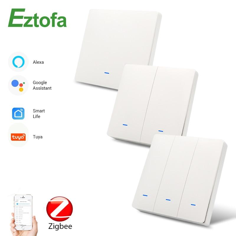 Eztofa Zigbee умная кнопка настенный светильник Переключатель ЕС/Великобритания AC90-250V Tuya Беспроводное управление Alexa Google Home совместимый