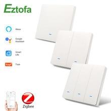Eztofa Zigbee Smart Button Wall Lamp Switch EU/UK AC90-250V Tuya Wireless Control Alexa Google Home Compatible