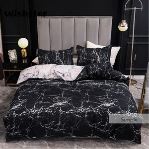 Europe American Style Black Bed Linen Marble Pattern Bed Duvet Cover Queen Size With Two Pillowcase Men Bedding Single Double