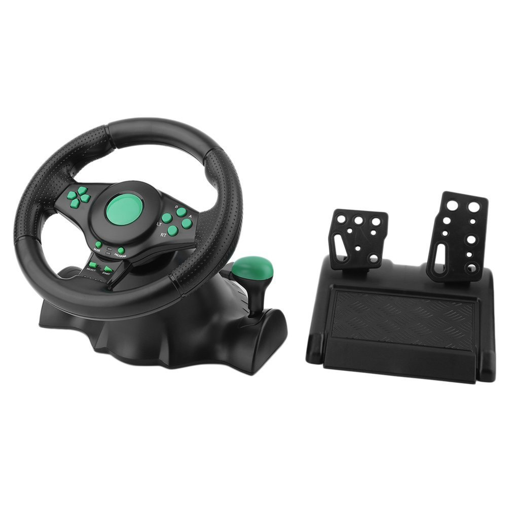 Gaming Vibration Racing Steering Wheel, With Pedals, For XBOX 360, For PS2 For PS3 PC USB Car Steering Wheel 180 Degree Rotation image