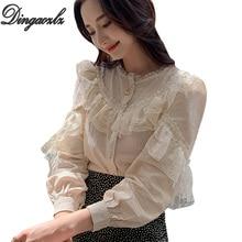 Dingaozlz top de encaje de manga larga para mujer, blusa informal con costuras de encaje para mujer, camisa coreana 2019