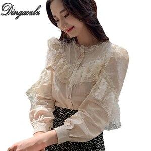 Image 1 - Dingaozlz موضة بلوزات من الدانتيل طويلة الأكمام أنيقة الإناث الدانتيل خياطة بلوزة غير رسمية 2019 جديد الكورية المرأة قميص