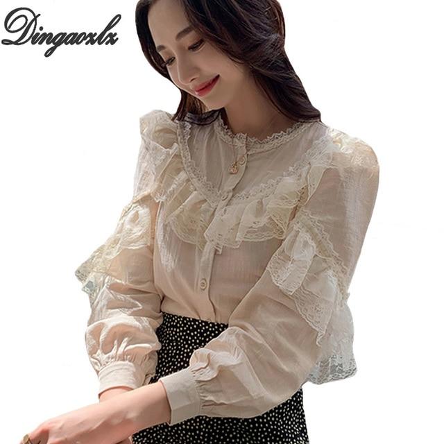 Dingaozlz موضة بلوزات من الدانتيل طويلة الأكمام أنيقة الإناث الدانتيل خياطة بلوزة غير رسمية 2019 جديد الكورية المرأة قميص