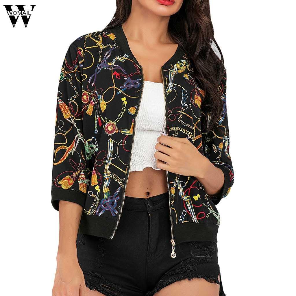 Womail damskie płaszcze moda damska Boho drukuj bluzka Baseball znosić kurtki płaszcz z suwakiem kobiety 2019 S-L