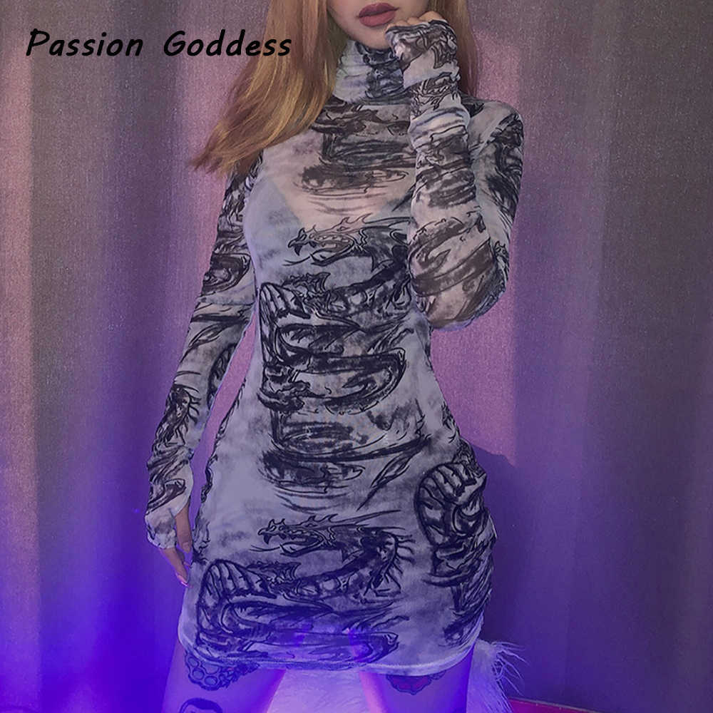 하라주쿠 여성 드래곤 프린트 메쉬 바디콘 드레스 긴 소매 고딕 원근법 드레스 패키지 힙합 터틀넥 드레스 파티 착용