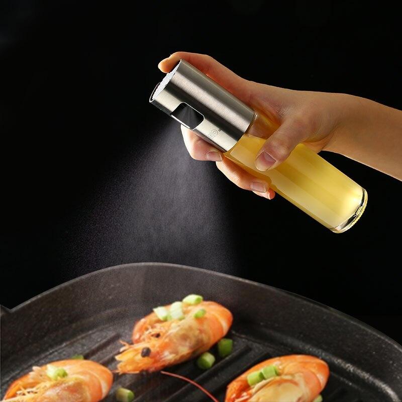 DEKO Vinegar BBQ Olive Oil Cooking Grill Dispenser Glass Stainless Steel Kitchen Cap Supplies Oil Spray Bottle 3