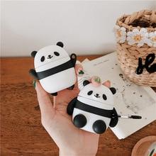 おかしいかわいいパンダの bluetooth イヤホン Apple Airpods カバー漫画シリコーンケースボックスヘッドセットバッグ用ポッド