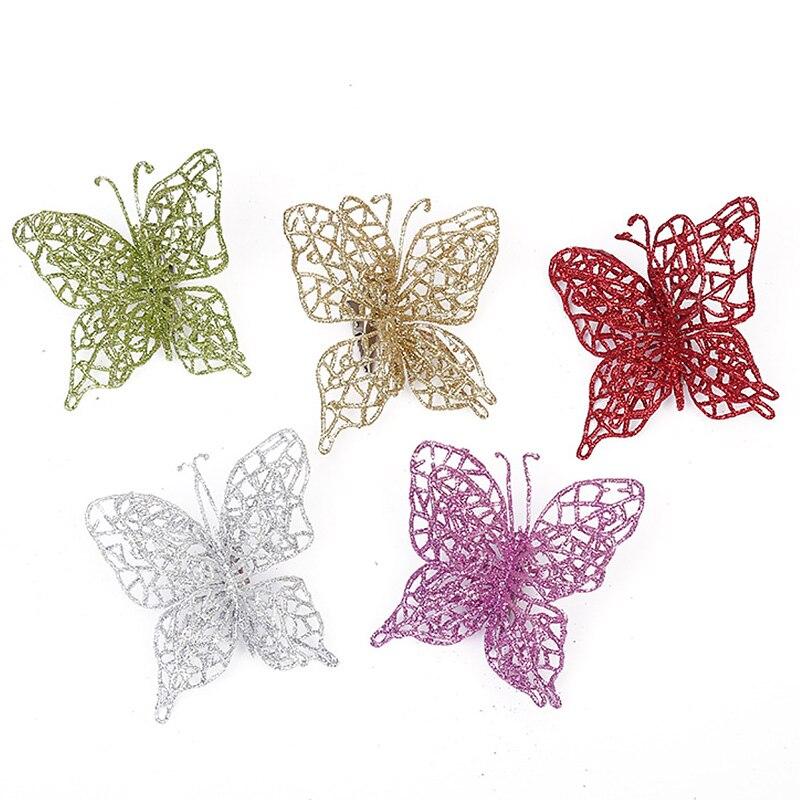 2021 рождественские бабочки, украшения для рождественской елки, однослойная Золотая пудра, блестящий искусственный цветок, поделки «сделай с...