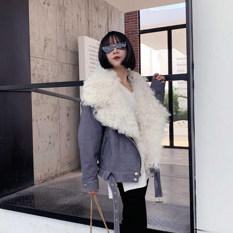 Woman Down Coats 100% Natural Sheepskin Leather  Fashion Sheepskin Leather Windbreaker Lamb Fur Collar Female Jackets