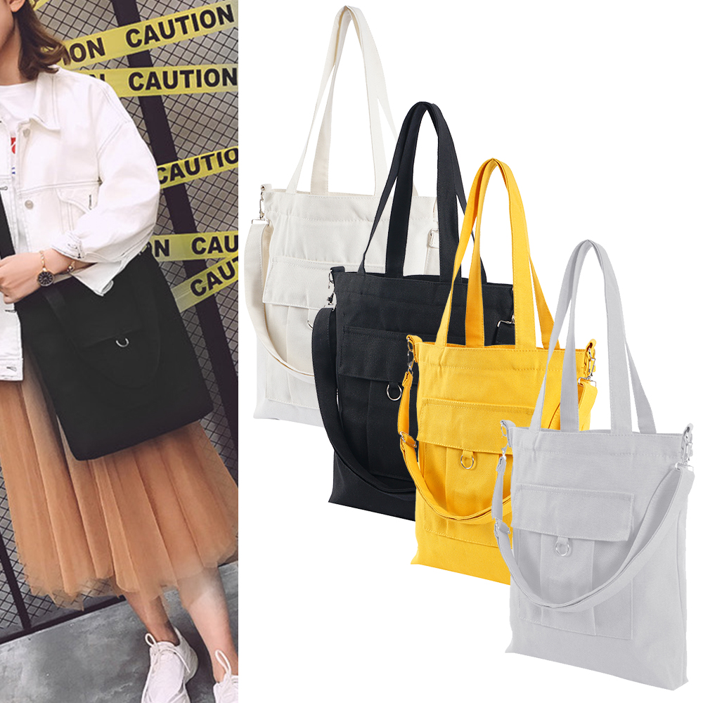 Fashion Cotton Grocery Tote Shopping Bags Fashion Canvas Solid Recyclable Bag Simple Design Healthy Tote Hand Bag