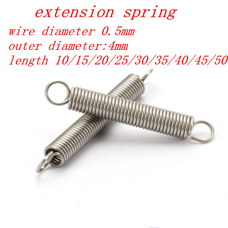 10pcs/lot 0.5 x 4mm 0.5mm stainless steel Tension spring with a hook extension spring length 15mm to 50mm