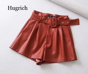 Women Black Orange Color Pu Leather High Waist with Belt Wide Leg Faux Shorts Winter Loose