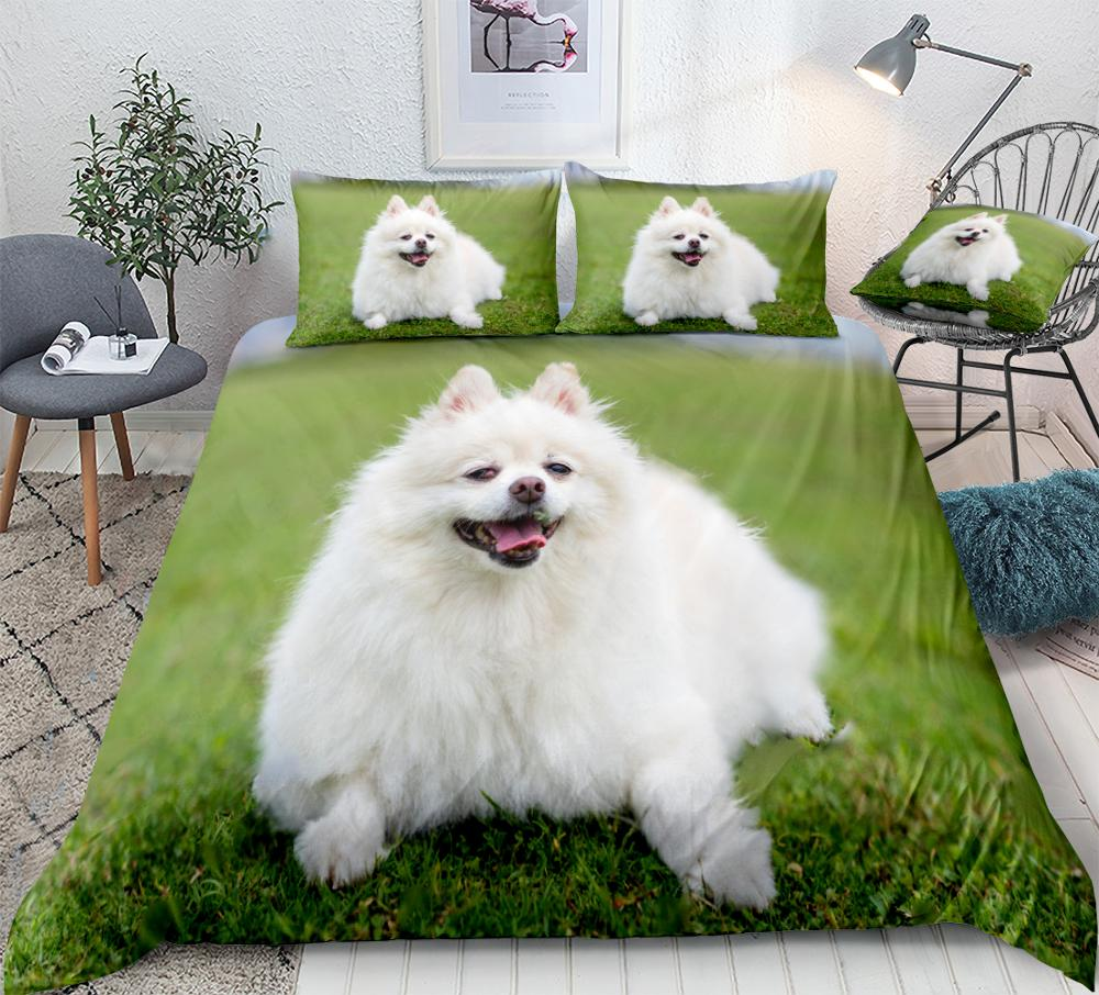 3D Pomeranian Dog Duvet Cover Set White Dog on Green Lawn Bedding Kids Boys Girls Animal Home Textiles Cute Pet 3pcs Dropship