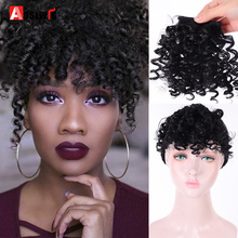 AOSI афро кудрявый взрыв для черно-белой женщины поддельные бахрома зажимы в челке парик волос натуральный черный Синтетический Наращивание волос
