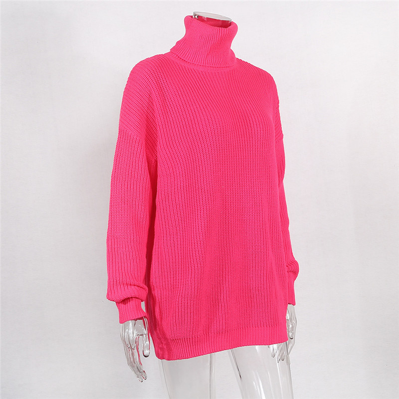 BOOFEENAA Fashion Turtleneck Oversized Sweater Winter Clothes Women Neon Green Pink Orange Pullover Fashion high sweater