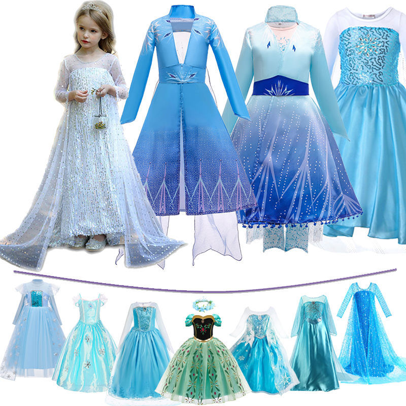Girls Snow Queen 2 Elsa Dress Kids Christmas Cosplay Elza Costume Children Carnival Birthday Party  Clothes Wig Crow Accessory