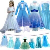 Meninas neve rainha 2 elsa vestido crianças natal cosplay elza traje crianças carnaval festa de aniversário roupas peruca corvo acessório