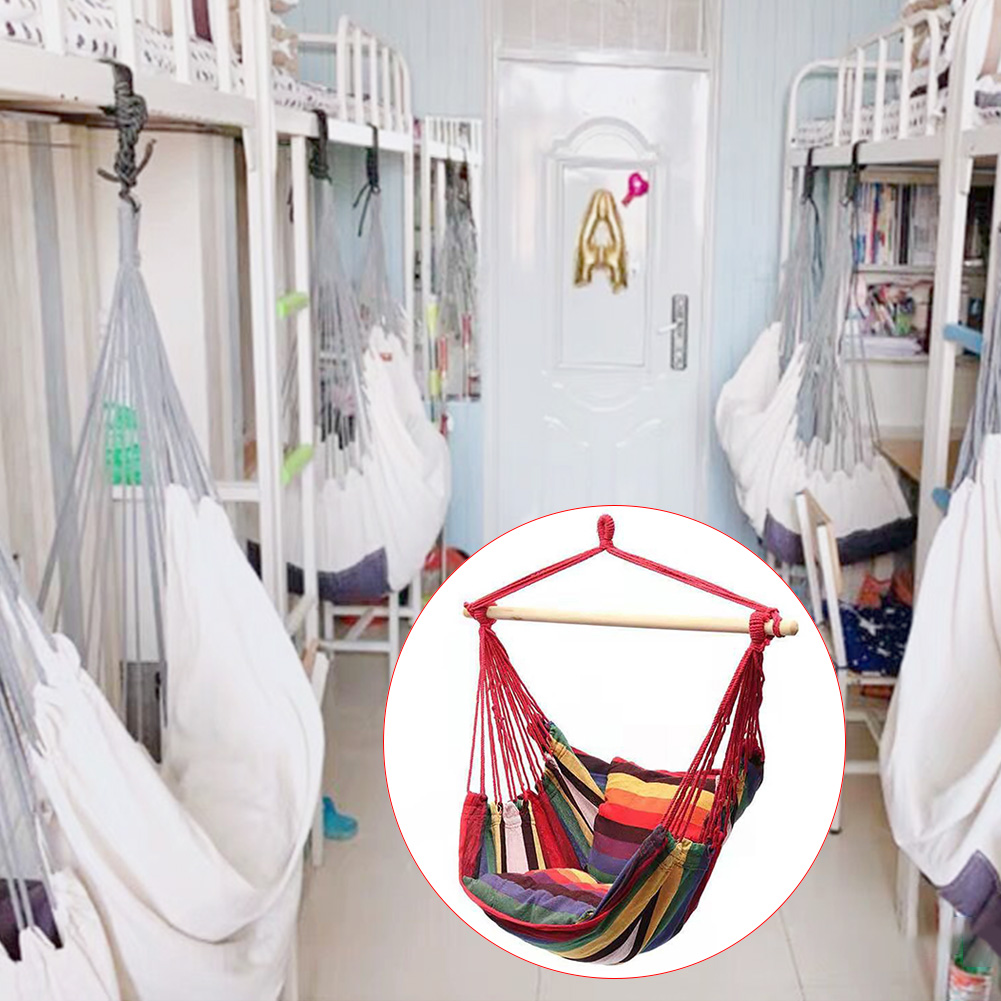 Big Offer Vmr Canvas Bedroom Hanging Hammock Chair Adults Kids Indoor Portable Relaxation Thickened Outdoor Swing Travel Camping With Cushion Bestfitness