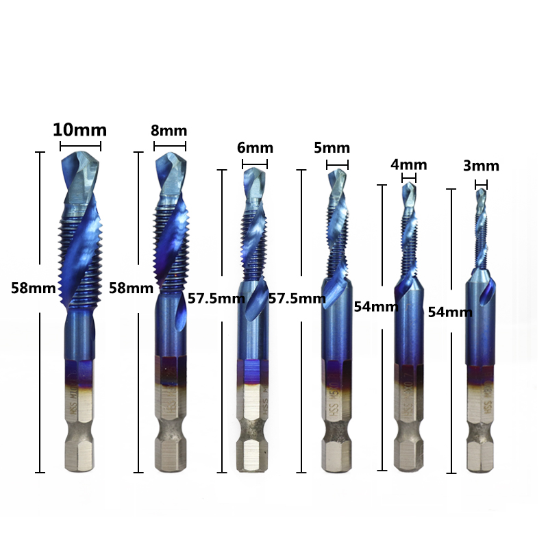 XCAN 1/4 мм хвостовик M3-M10 HSS резьбы крана набор метрическое сверло под Метчик Nano Blue покрытием крепежный винт крана