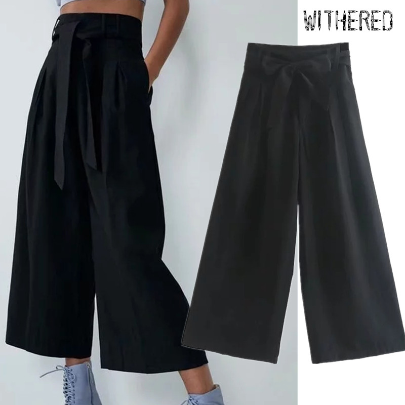 Withered 2019 england preppy vintage high waist sashes   wide     leg     pants   women loose pantalones mujer pantalon femme trousers women