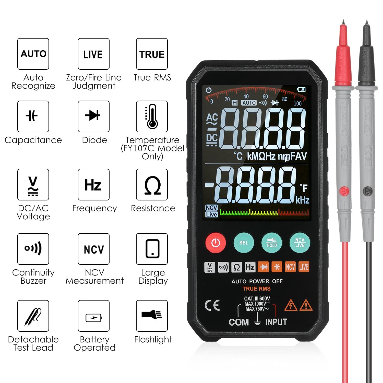 Multímetro digital lcd 6000 contagens rms verdadeiro ac/dc tensão resistência capacitância frequência continuidade diodo ncv teste temperatura