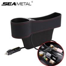 รถหนัง Gap Organizer Auto Storage Car Seat Gap พ็อกเก็ตอัพเกรด 2 เครื่องชาร์จ USB 12V 24V ไฟแช็กถ้วยผู้ถือ