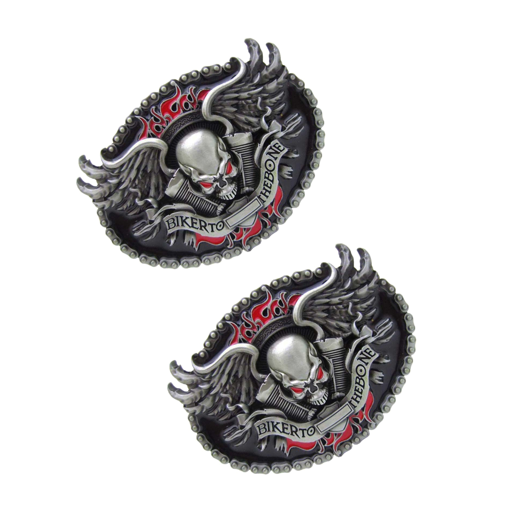 2 Pcs Skeleton Head Winged BIKER TO THE BONE Cowboy Western Belt Buckle Mens