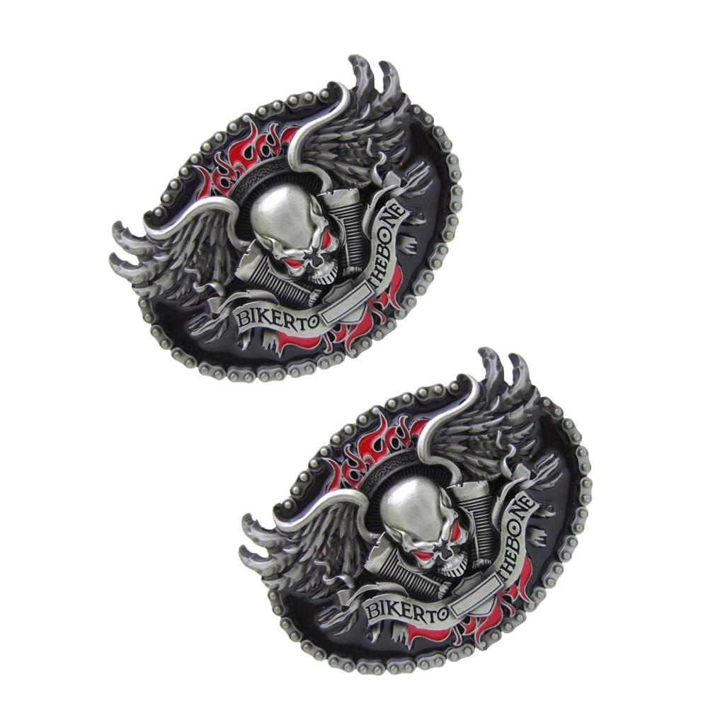 2 Pcs Skeleton Head Winged BIKER TO THE BONE Cowboy Western Belt Buckle Mens
