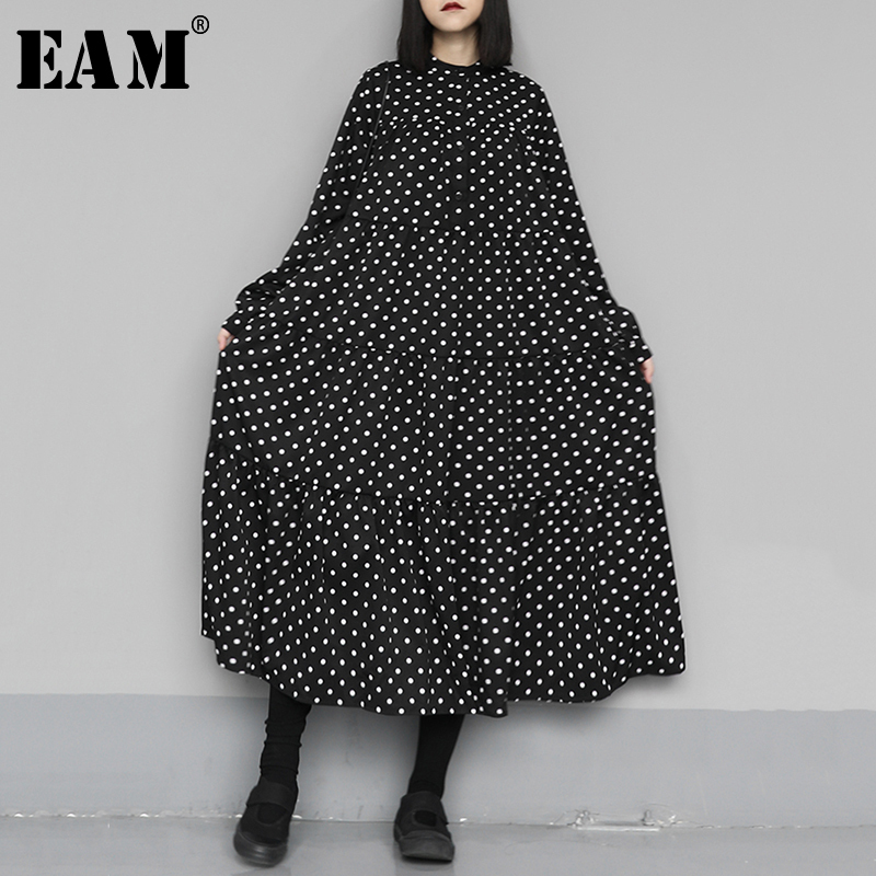 [EAM] Women Black Dot Print Split Big Size Dress New Stand Collar Long Sleeve Loose Fit Fashion Tide Spring Autumn 2020 1N659