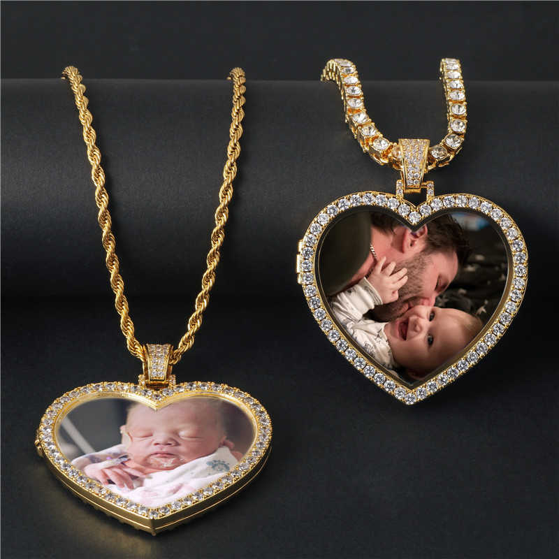 Custom bling bling Heart Photo Medallions Necklace & Pendant copper with tennis chain Gold Cubic Zircon Men's Hip hop Jewelry