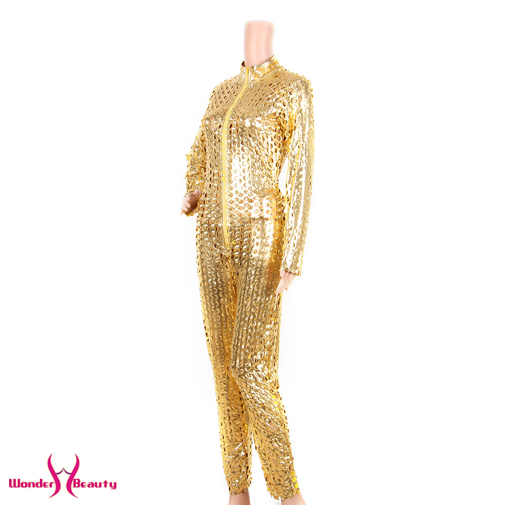faux leather catsuit catwomen shiny black gold silver metallic leather jumpsuit wetlook pu leotard bodysuit bar night clubwear (14)