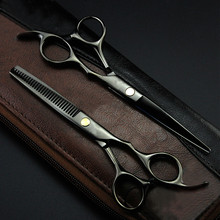 Brand professional 5.5/6 inch hair scissors hairdressing tool barber scissors hair cutting shears thinning scissors with bag