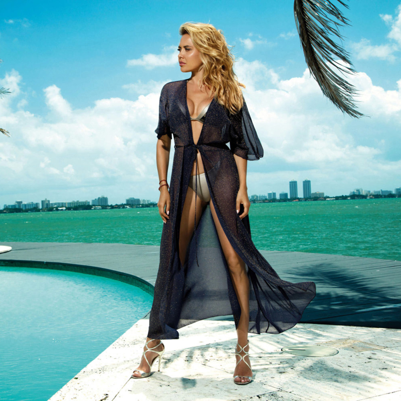 Sexy Beach Dress 2020 New Cover Up Bikini Women Swimwear Swimsuit One Piece Lace Long Skirt Bathing Beachwear Solid Black Summer