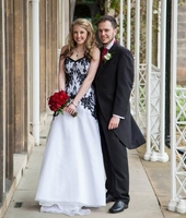 Gothic Wedding Dress Black and White A Line Lace Organza Non Traditional Colored medieval Wedding Gown Custom Made