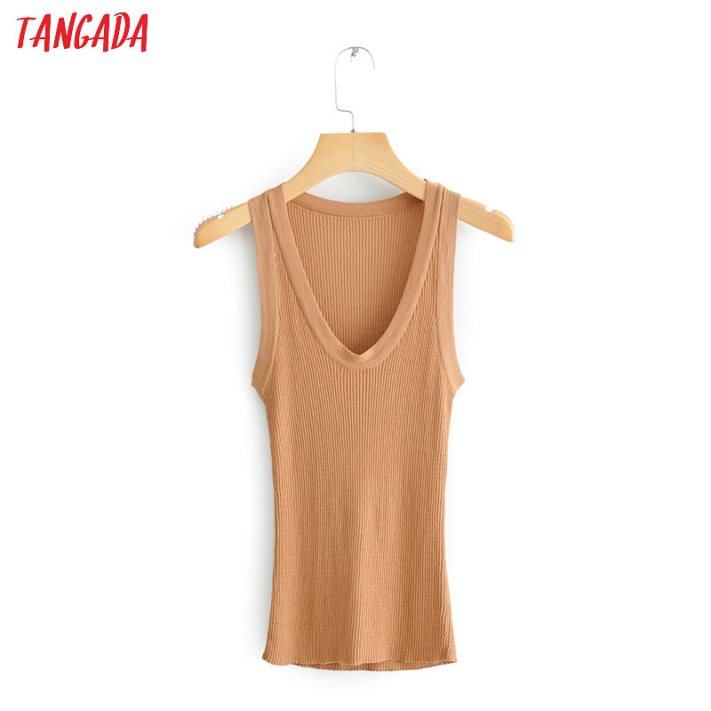 Tangada Women Solid Knit Strethy Tops Sexy Female Sleeveless Tanks Short Tops 2020 Summer Camis QJ40