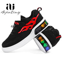 kids Led usb charging glowing Sneakers Children hook loop Fashion luminous shoes for girls boys skate shoes(China)